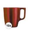 10x rode koffie bekers mokken 250 ml