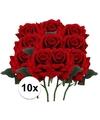 10x rode rozen deluxe kunstbloemen 31 cm