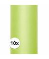 10x rollen tule stof licht groen 0 15 x 9 meter