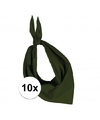 10x zakdoek bandana olijf groen