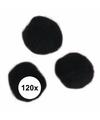 120x knutsel pompons15 mm zwart
