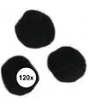 120x zwarte knutsel pompons 15 mm