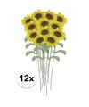 12x gele zonnebloem kunstbloemen 38 cm