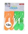 12x oranje en groene handdoek knijpers 13cm