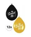 12x sweet 16 ballonnen zwart goud