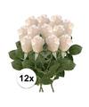 12x witte roos kunstbloemen 35 cm