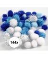 144x knutsel pompons 15 20 mm wit blauw