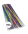 150x gekleurde knutselhoutjes stro 22 cm