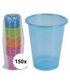 150x gekleurde wegwerp bekers 200 ml