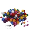 150x knutsel pompons 15 40 mm glitterkleuren