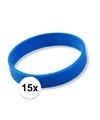 15x siliconen armbandjes blauw
