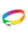 15x siliconen armbandjes regenboog