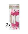 16 stuks flamingo prikkertjes
