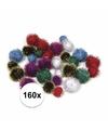 160x knutsel pompons 25 mm metalic gekleurd