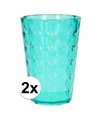 2 drink glazen van helder plastic groen 350 ml