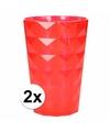 2 drink glazen van helder plastic rood 350 ml