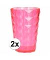 2 drink glazen van helder plastic roze 350 ml