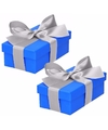 2 x blauw cadeaudoosje 10 cm met zilveren strik