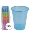 200x gekleurde wegwerp bekers 200 ml