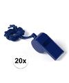 20x blauw fluitje aan koord