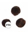 210x bruine knutsel pompons 7 mm
