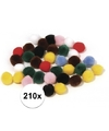 210x kleuren assortiment knutsel pompons 7 mm