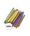 2400x gekleurde ijsstokjes knutselhoutjes 5 5 cm