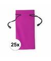 25x zonnebrillen etui van stof roze 18 cm