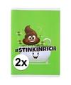 2x a4 geblokt schriften drol emoji groen