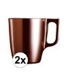 2x bruine koffie bekers mokken 250 ml