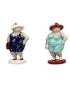 2x dikke staande dames beeldjes 20 cm in donkerblauwe lichtblauw
