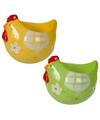 2x eierdop kip 1x geel en 1x groen 8 cm