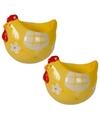 2x eierdop kip geel 8 cm