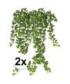 2x groene klimop takken kunstplanten 65 cm