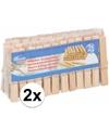 2x houten wasknijpers 36 stuks