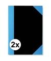 2x luxe notitieboekjes schriften zwart a7 formaat