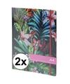 2x notitieboekjes schriften tropische print met elastiek a4