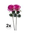 2x paars roze rozen simone kunstbloemen 45 cm