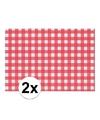 2x placemat rood wit geblokt 43 x 30 cm