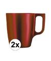 2x rode koffie bekers mokken 250 ml