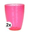 2x roze drinkglas gehamerd 350 ml helder kunststof
