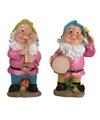 2x tuinkabouters 25 cm muzikanten groen blauw