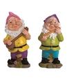 2x tuinkabouters 25 cm muzikanten roze paars