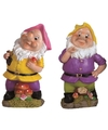 2x tuinkabouters 25 cm roze geel