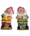 2x tuinkabouters 25 cm roze paars