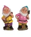 2x tuinkabouters 30 cm roze blauw