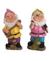 2x tuinkabouters 30 cm roze groene muts