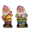 2x tuinkabouters 30 cm roze paars