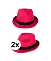 2x voordelige toppers party gleufhoedjes roze