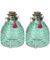2x wespenvangers van groen glas 18 cm